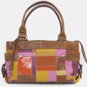 Fossil Tan Colored Leather Patchwork Purse #75082